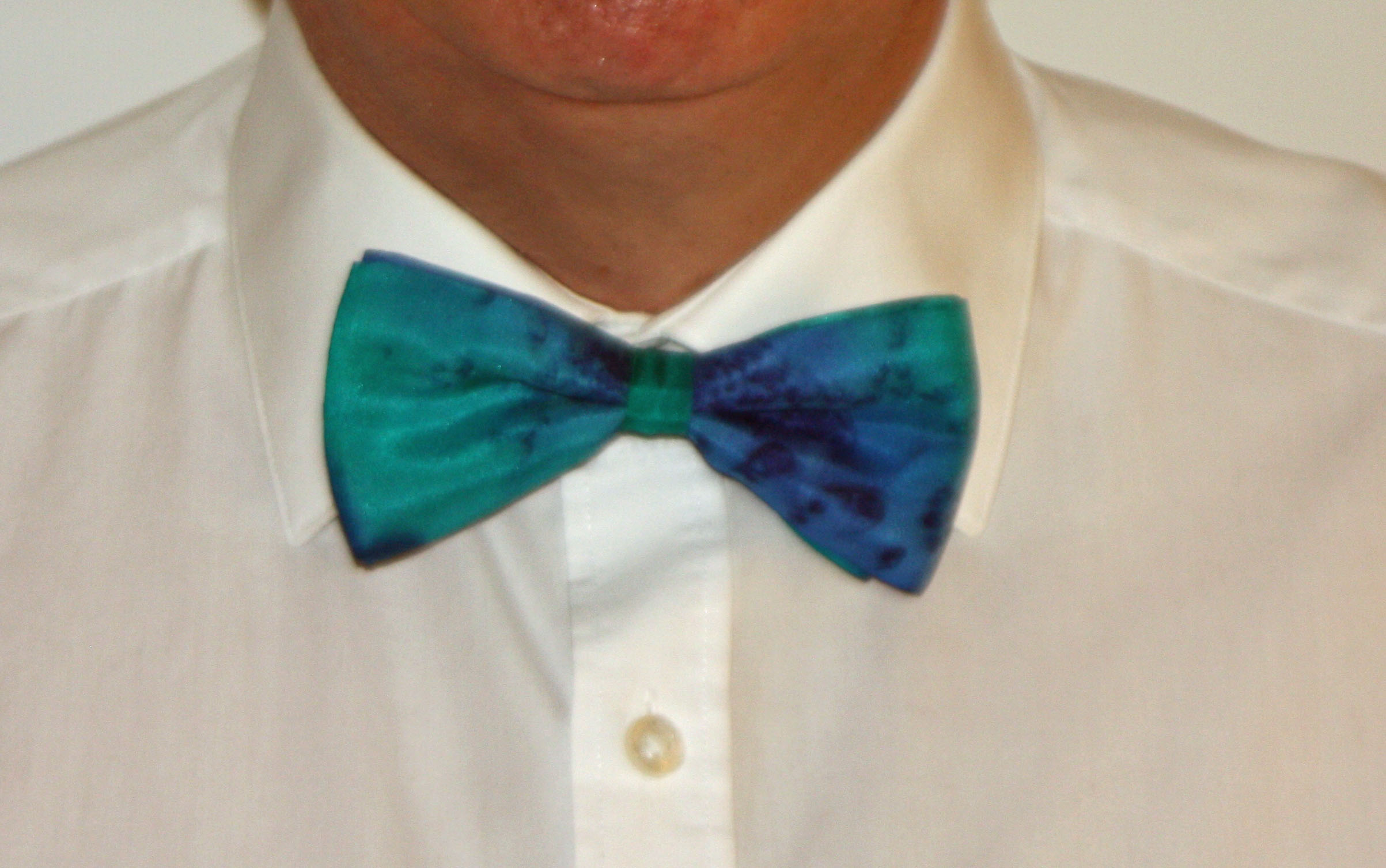Navy and Emerald Silk Bow Tie