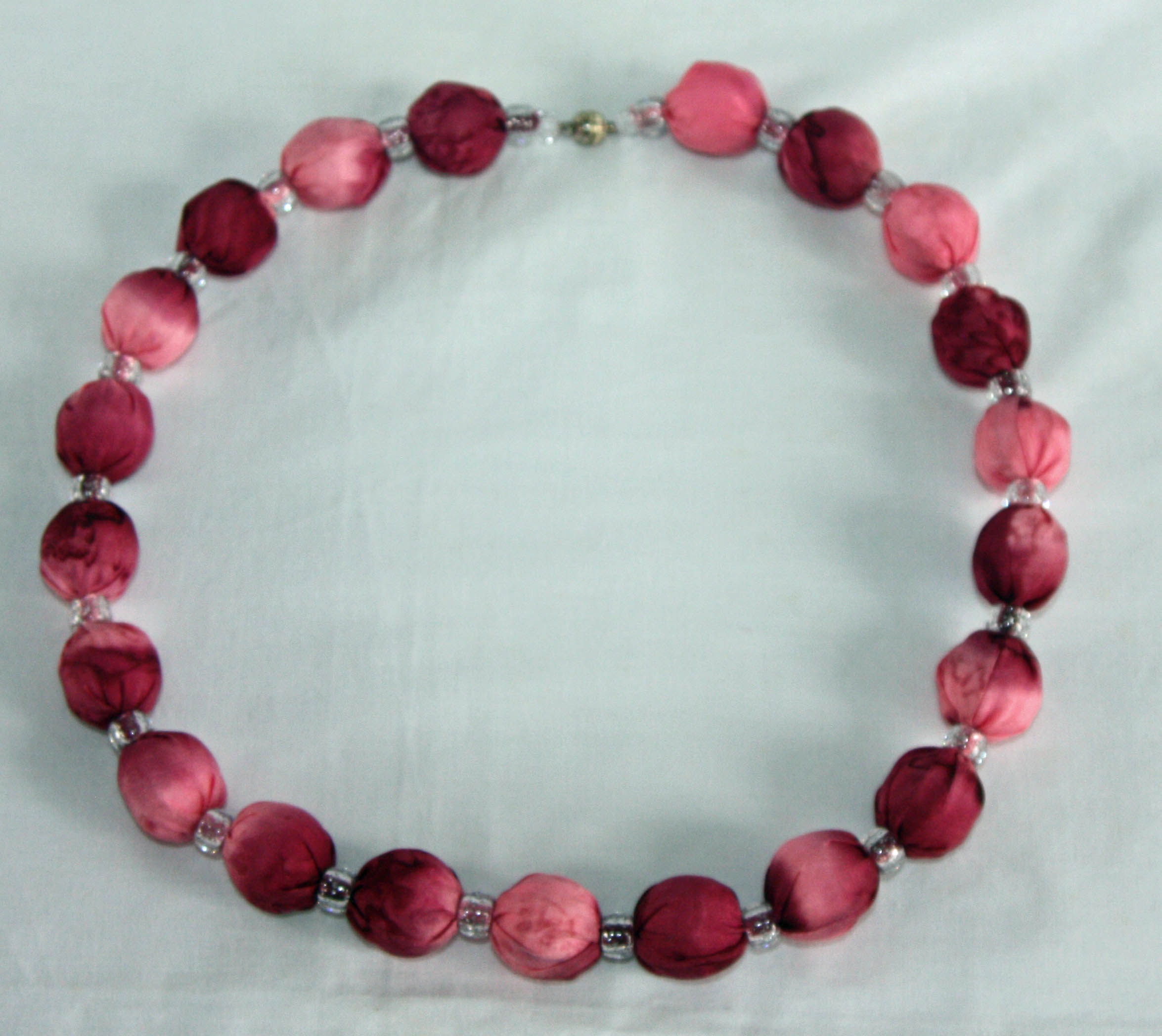 Pink and Burgundy Silk Necklace