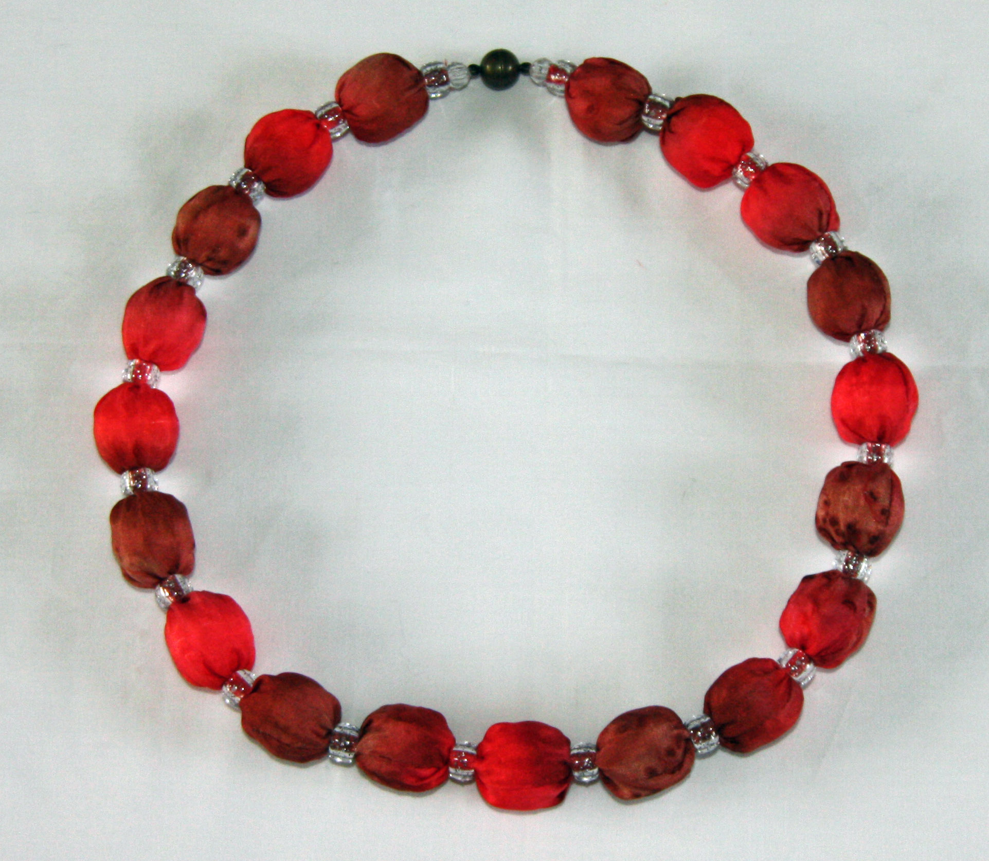 Brown and Coral Silk Necklace