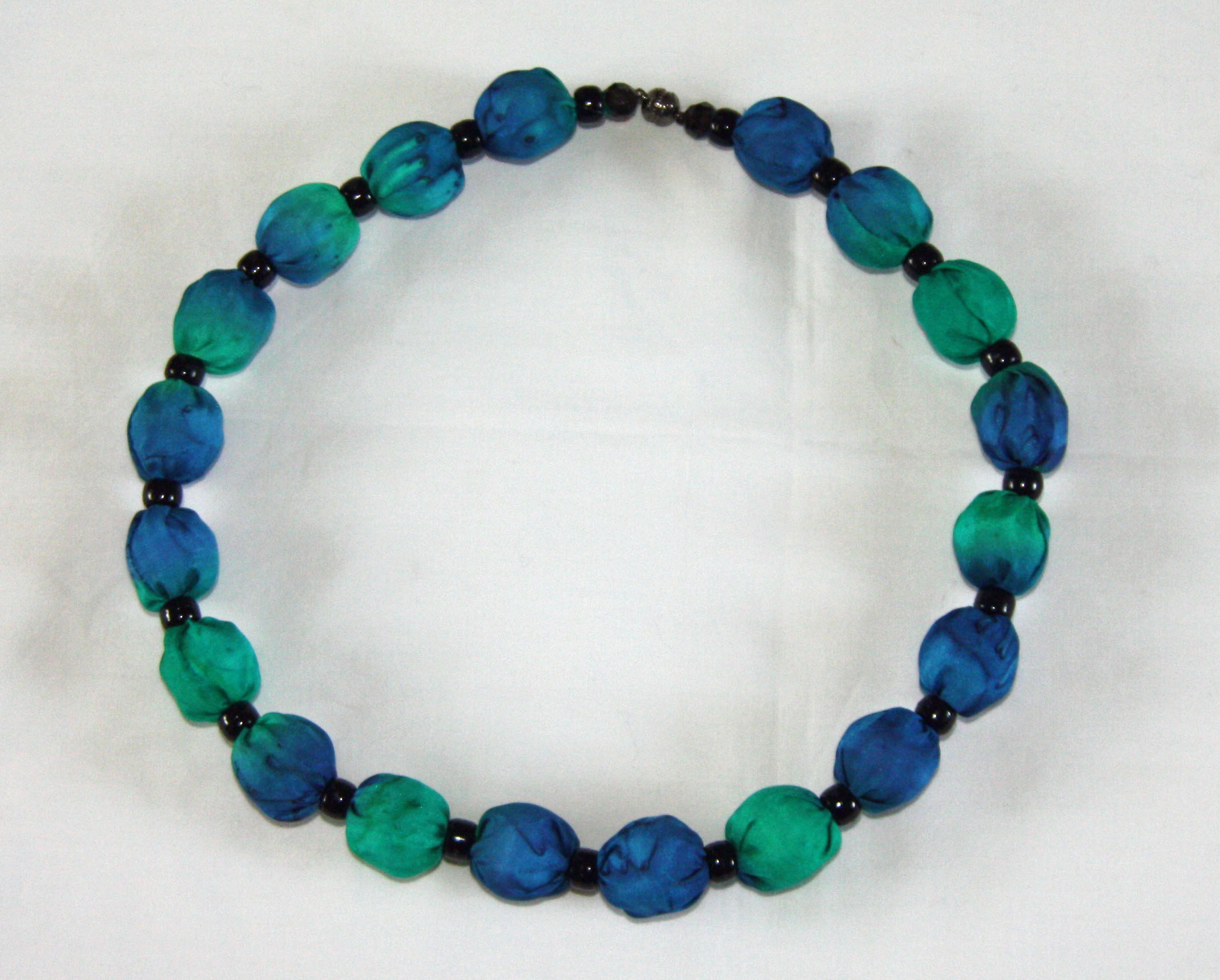 Emerald and Navy Silk Necklace