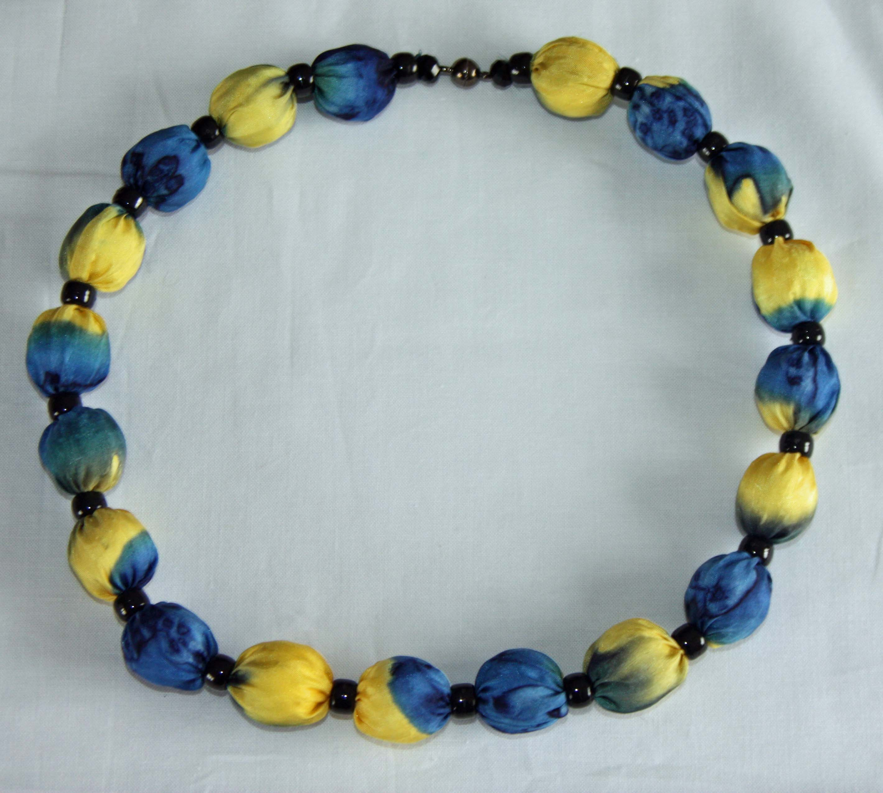 Golden Yellow and Navy Blue Silk Necklace