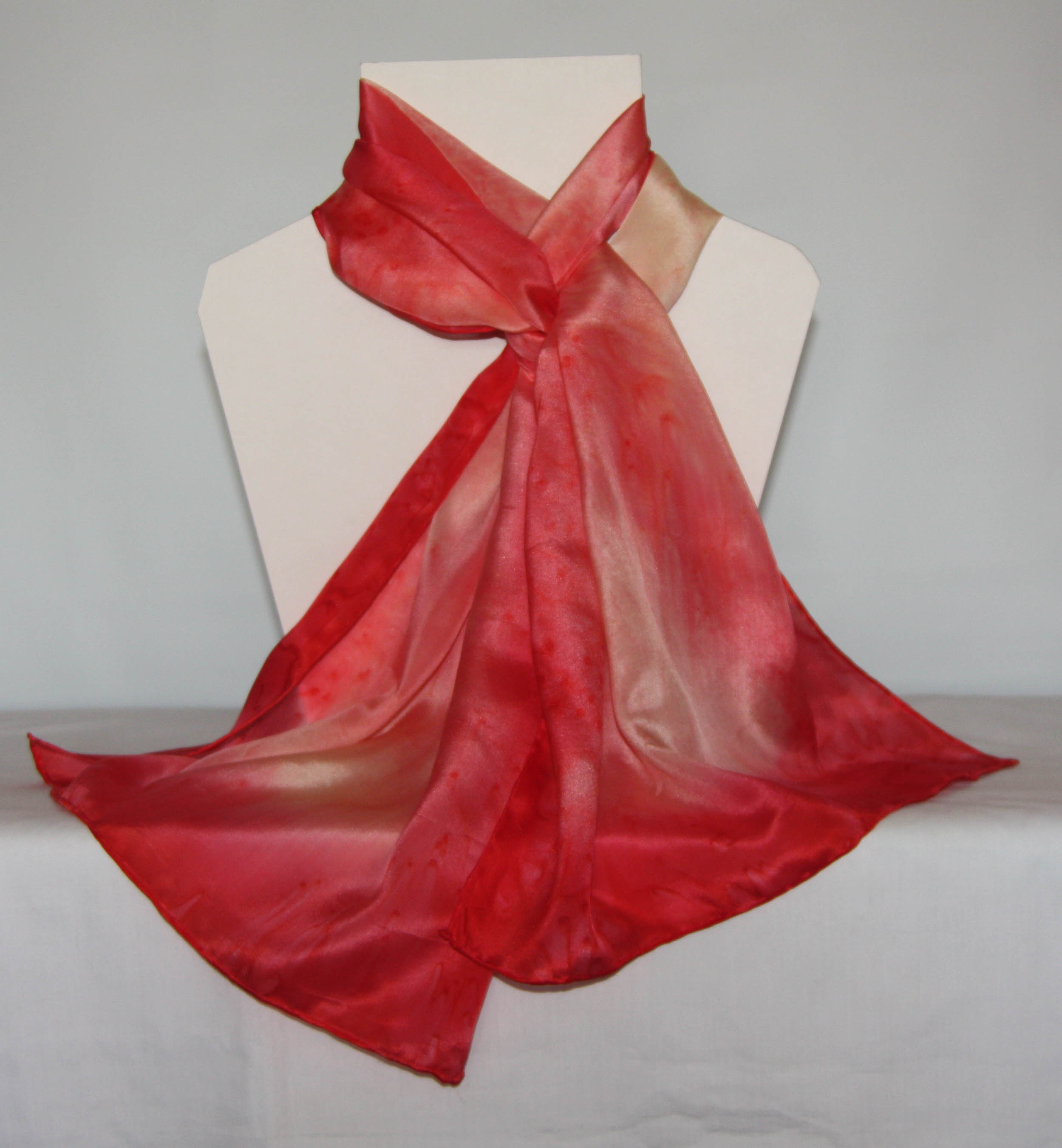 Coral and Cream Long Silk Scarf - Large