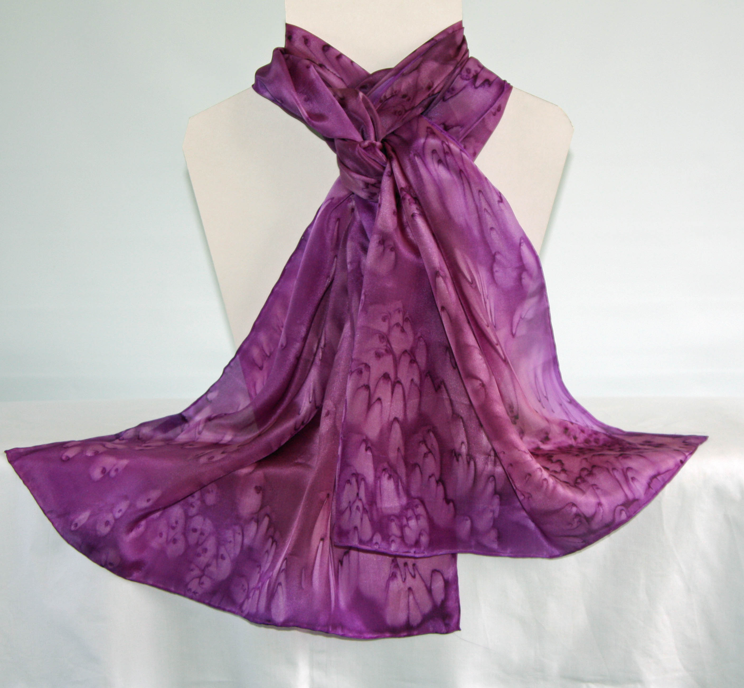 Pink and Purple Heather Long Silk Scarf Large