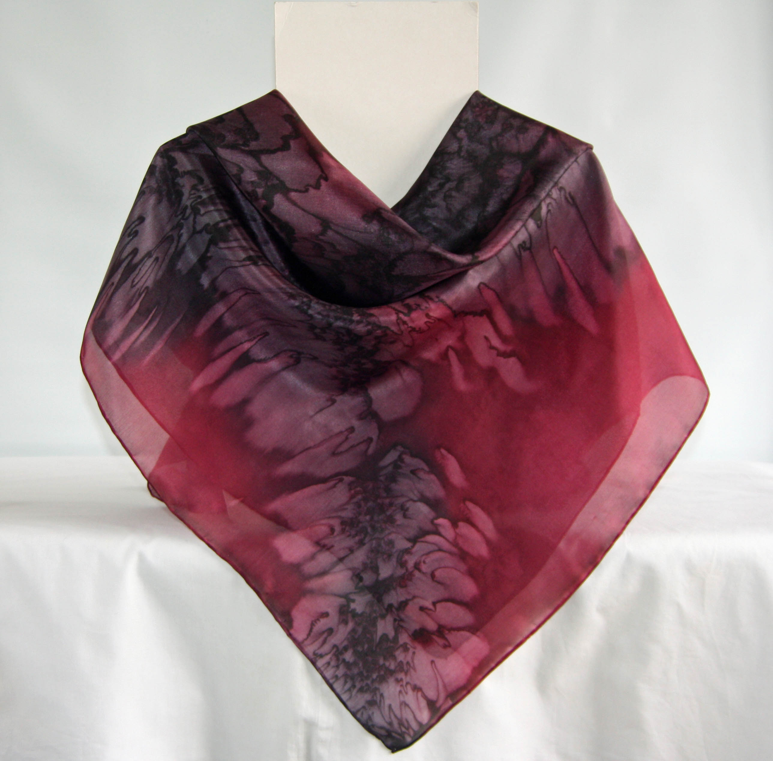 Large Black and Burgundy Red Square Silk Scarf