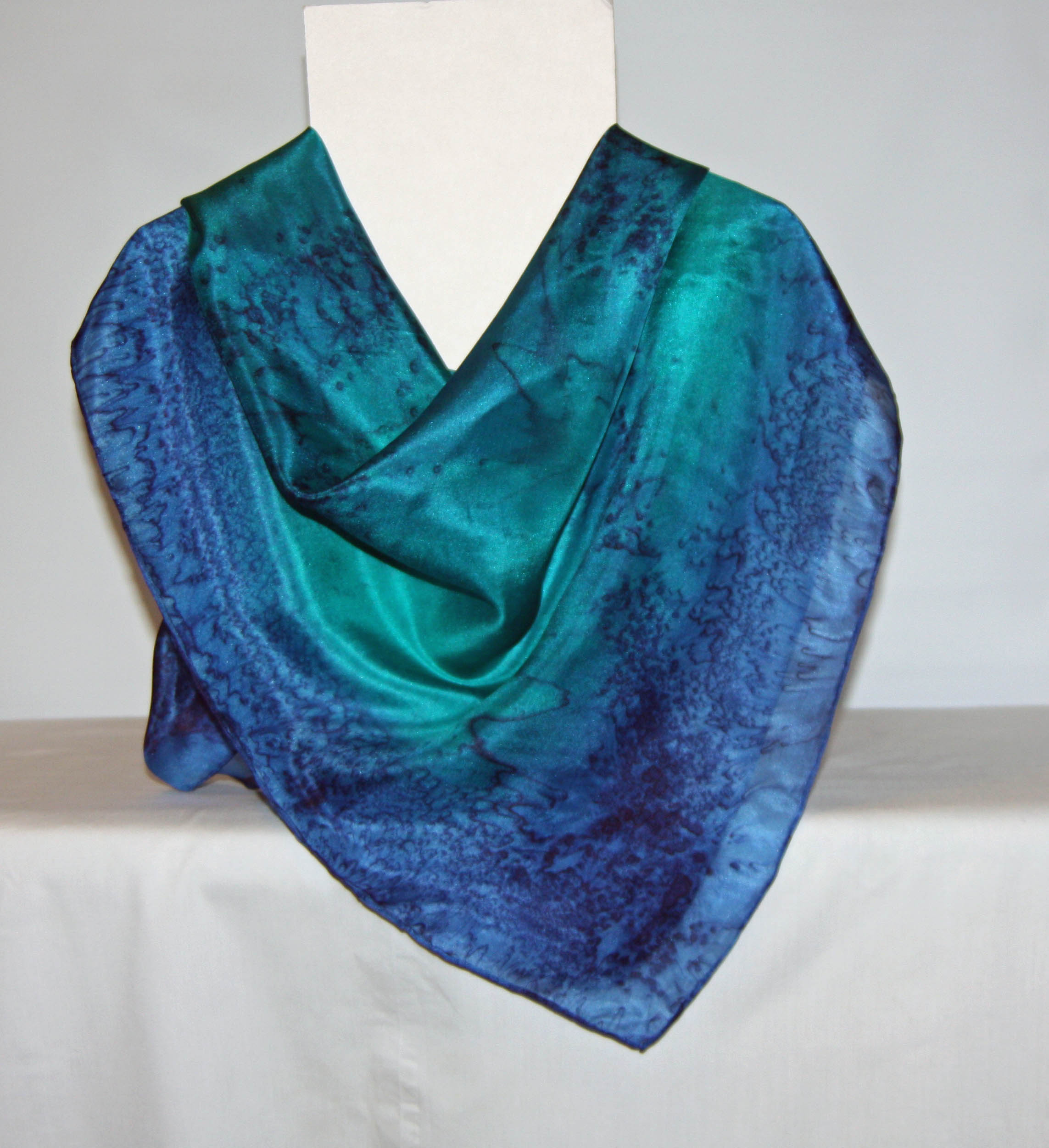 Large Navy and Emerald Square Silk Scarf