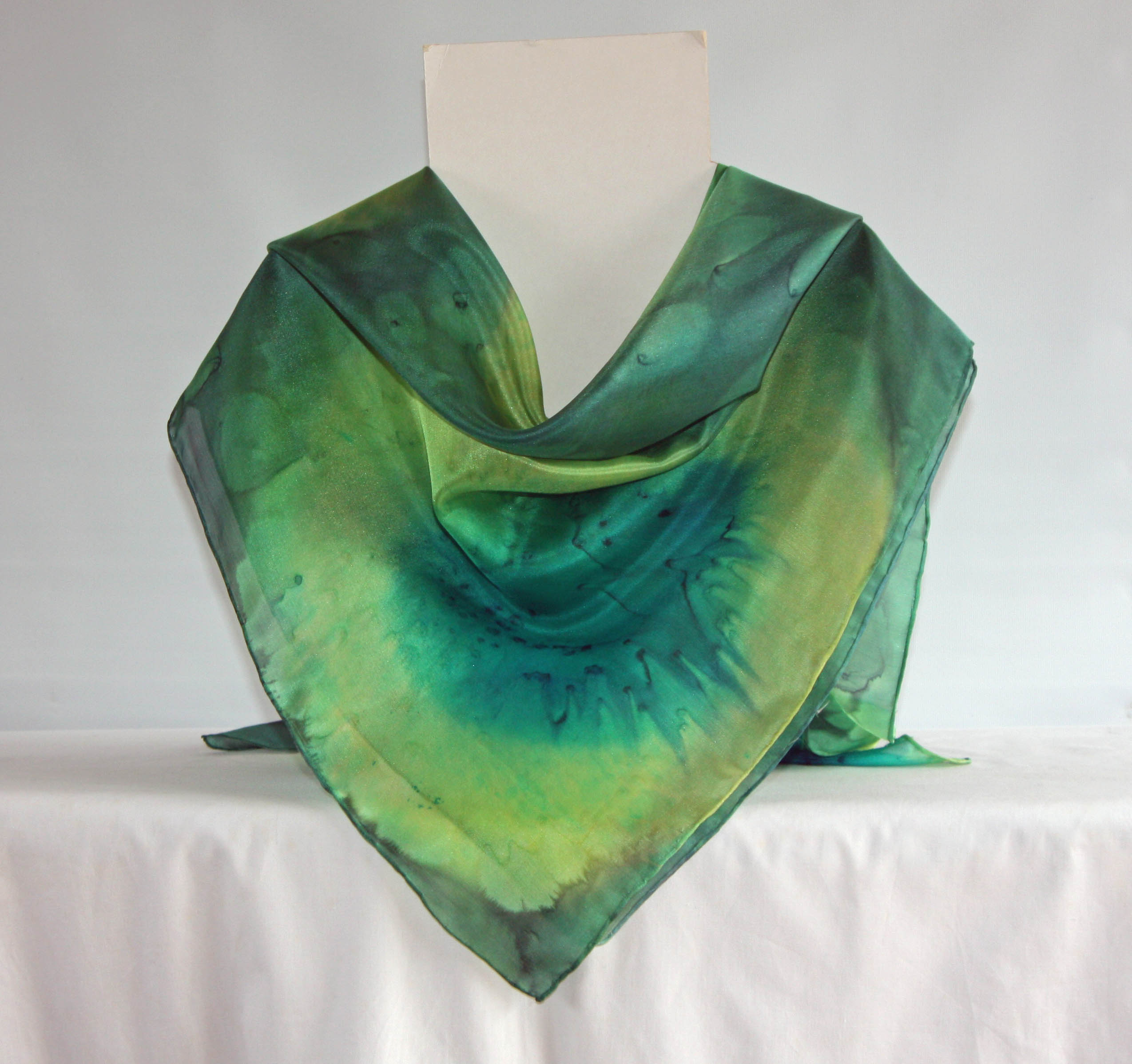 Large Peacock Blue, Lime and Dark Green Square Silk Scarf