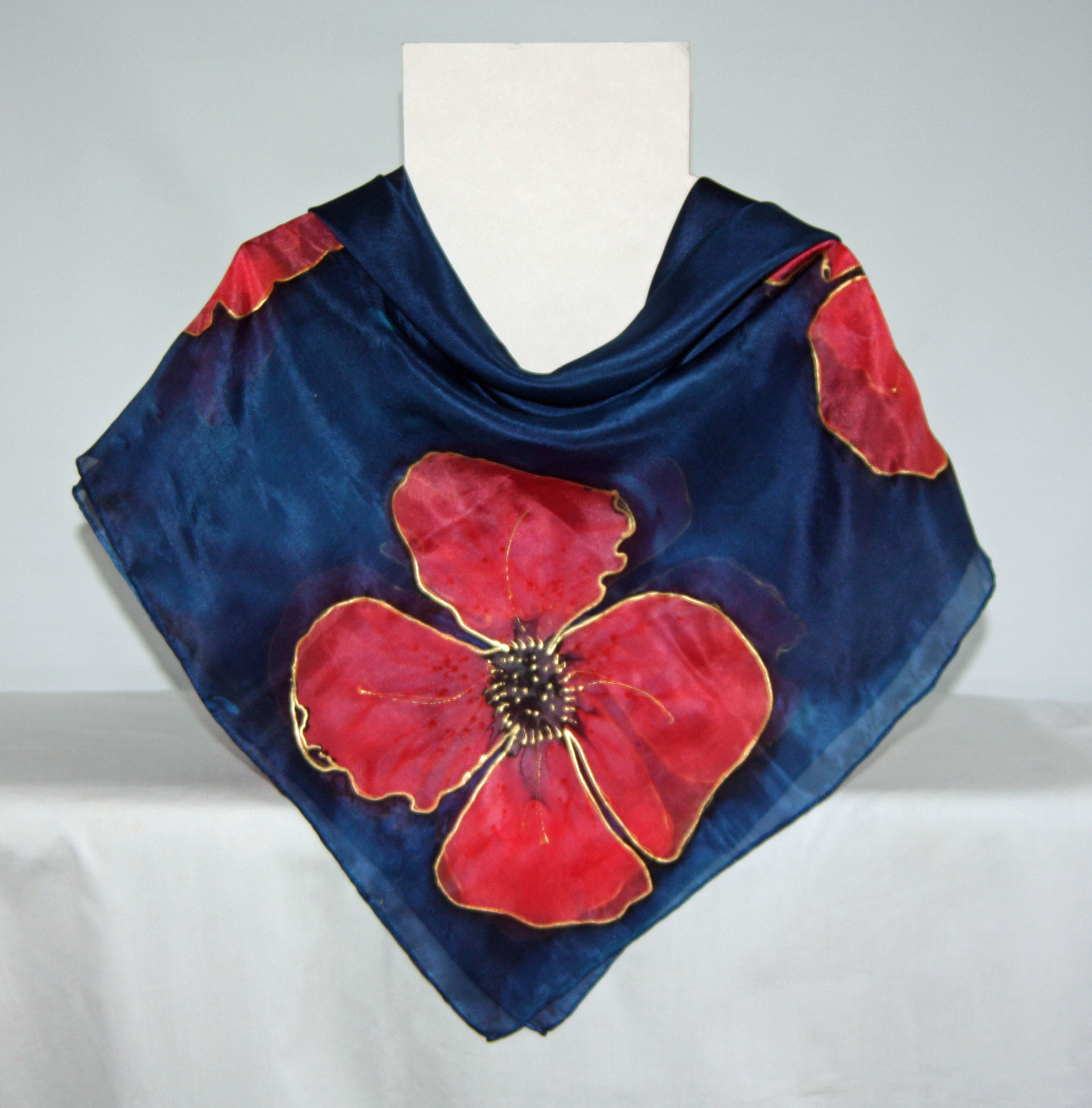 Large Poppies on Navy Blue Square Silk Scarf