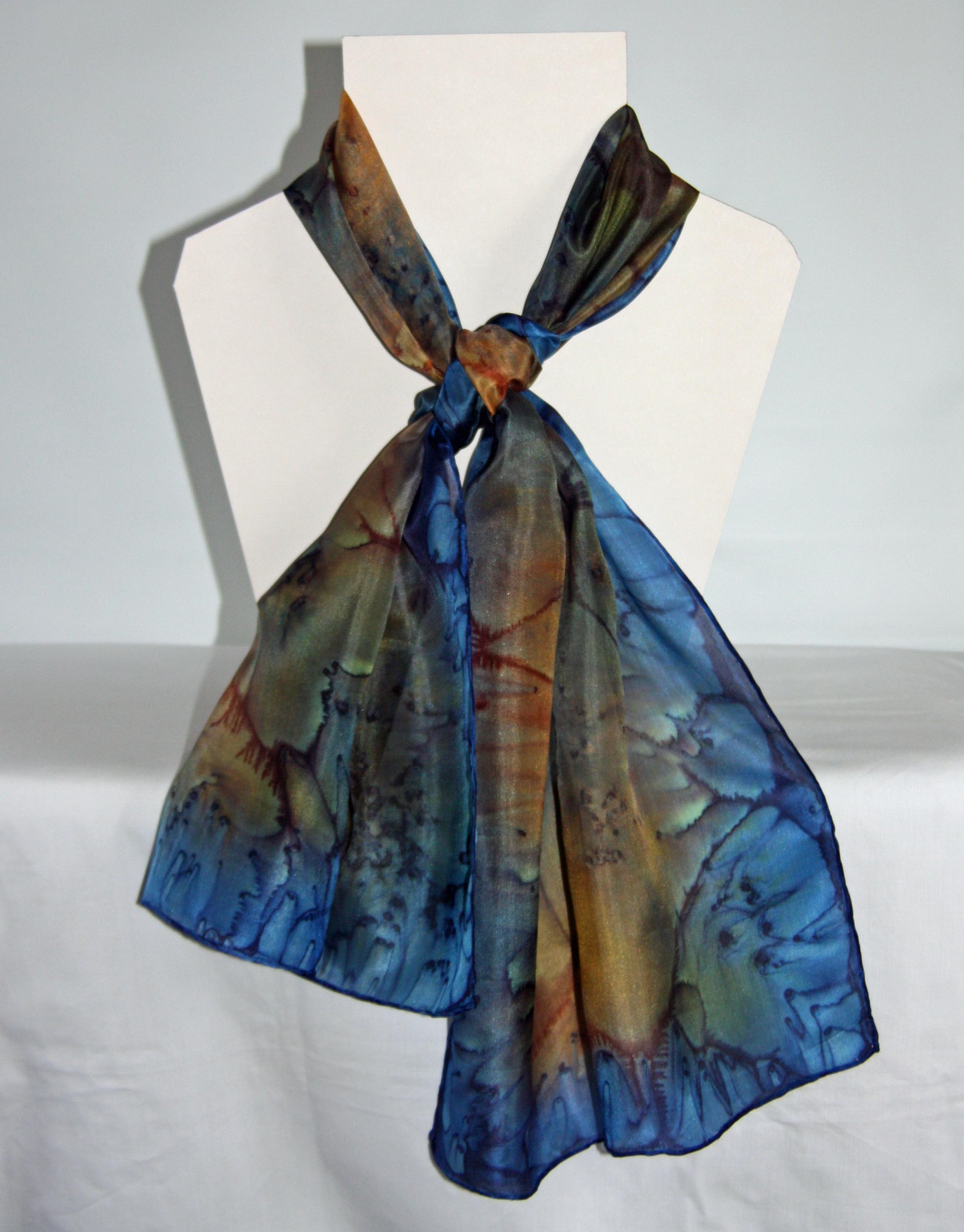 Orange and Navy Long Silk Scarf Medium