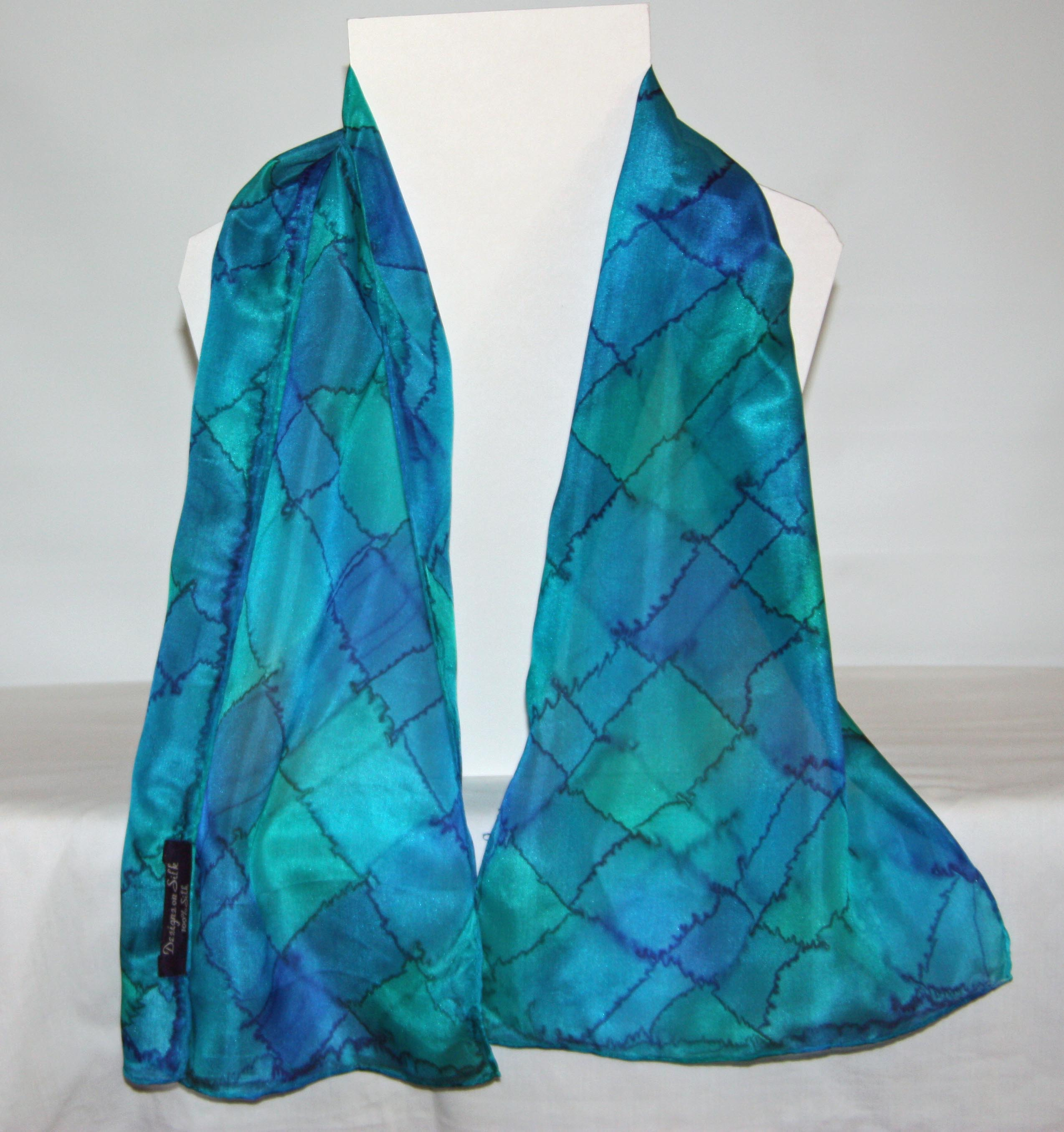 Blue, Green and Aqua Tartan Long Silk Scarf Small