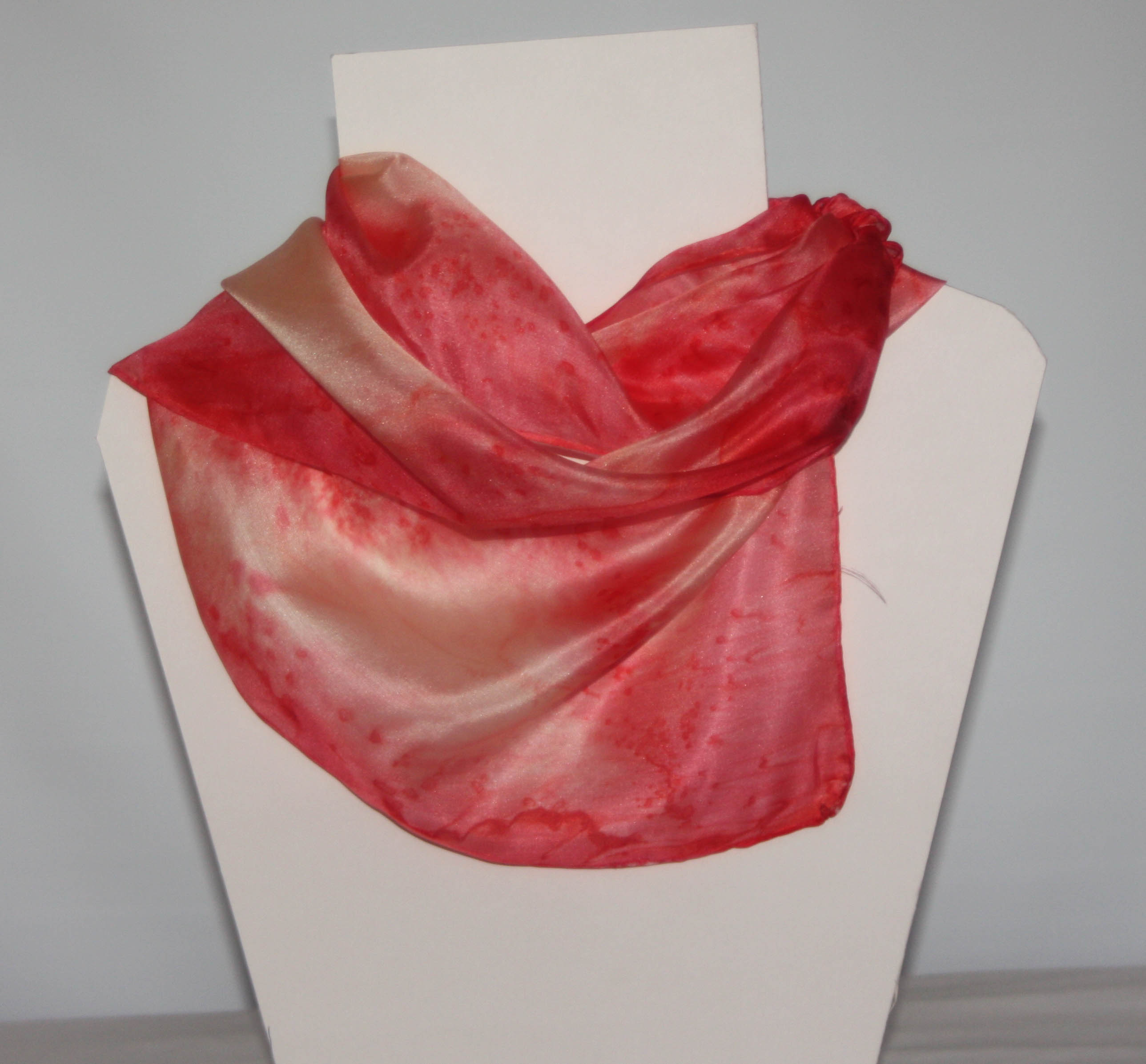 Coral and Cream Long Silk Scarf Small