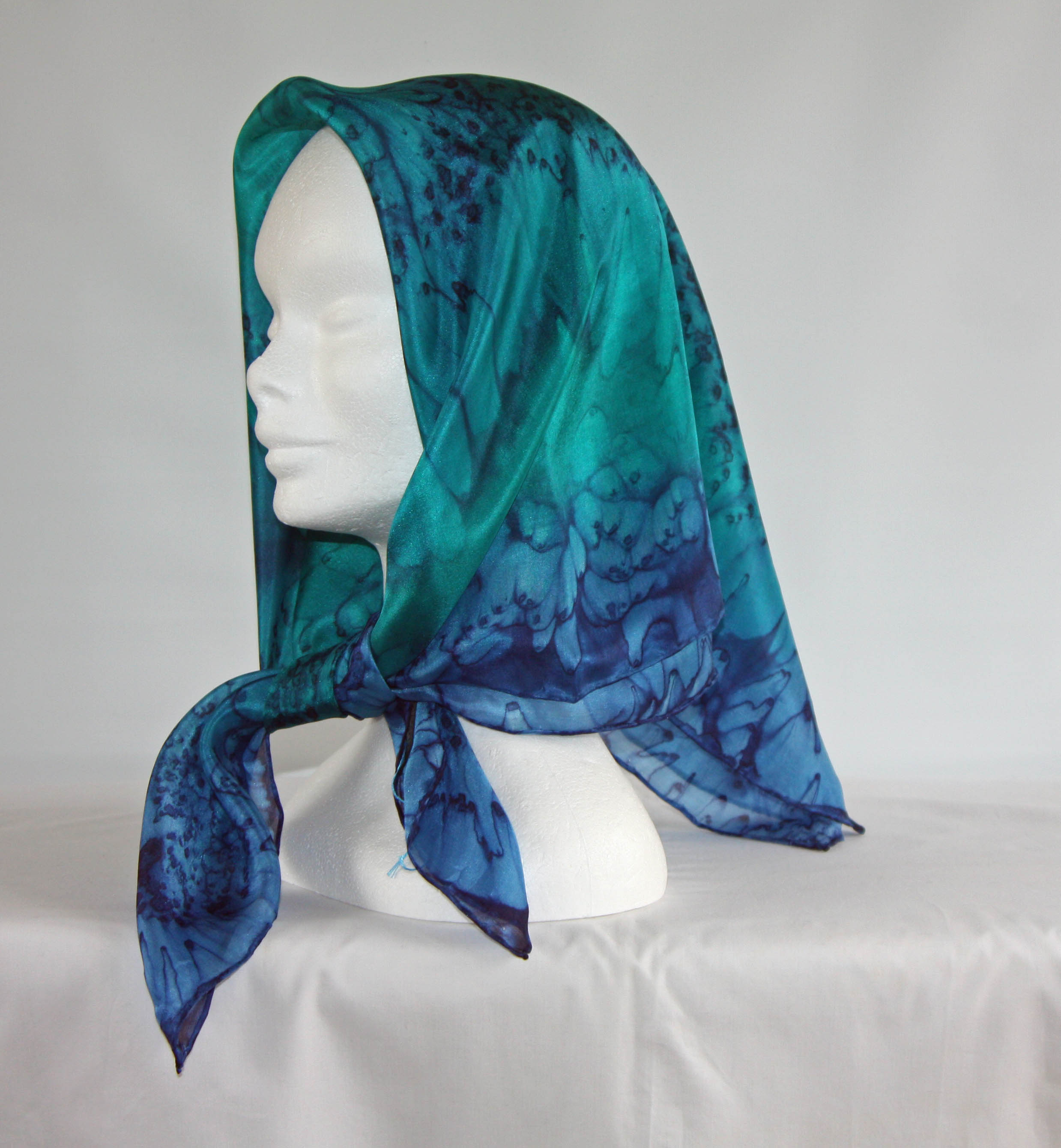 Emerald Green and Navy Blue Square Silk Headscarf