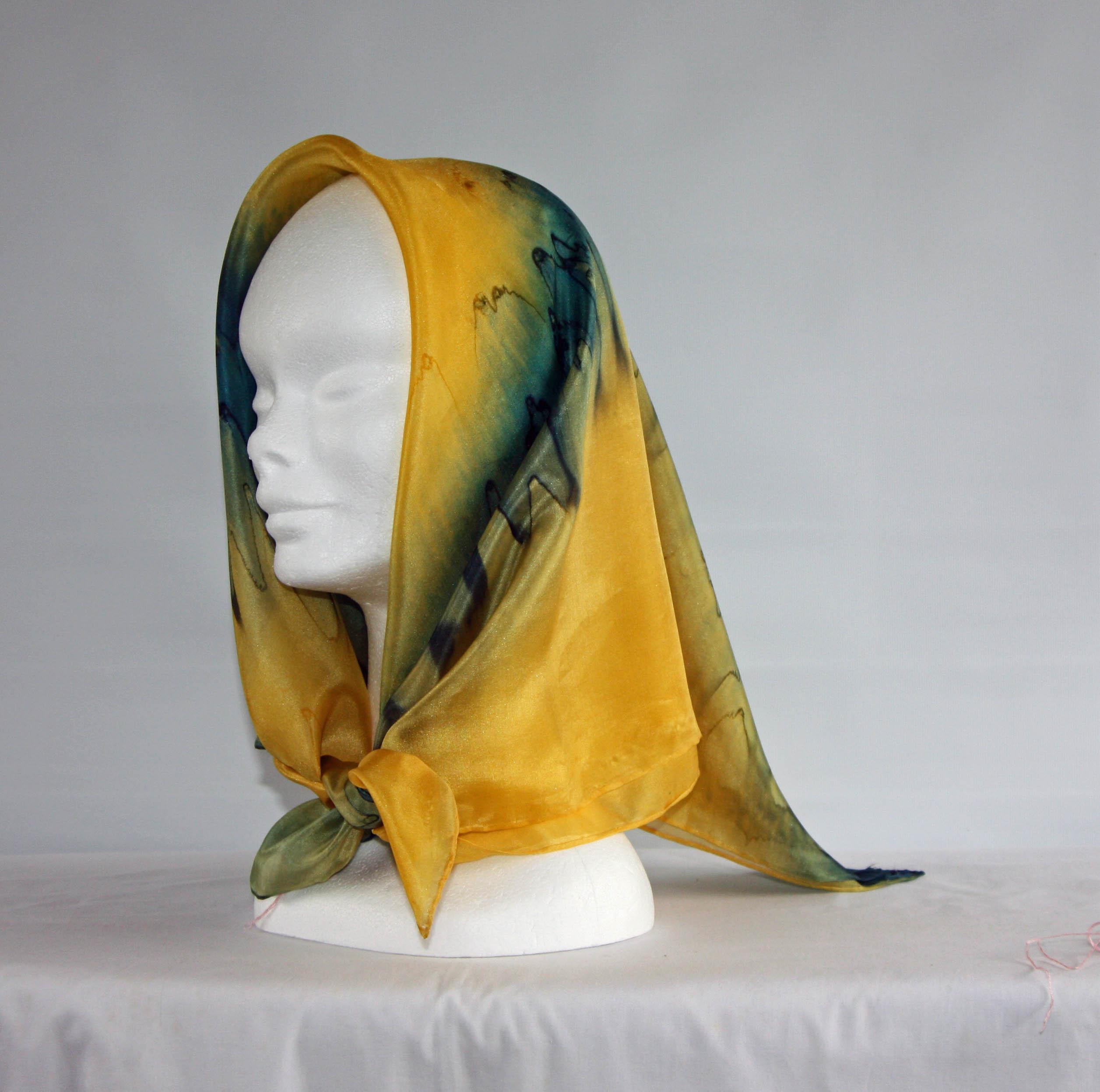 Golden Yellow and Navy Blue Square Silk Headscarf
