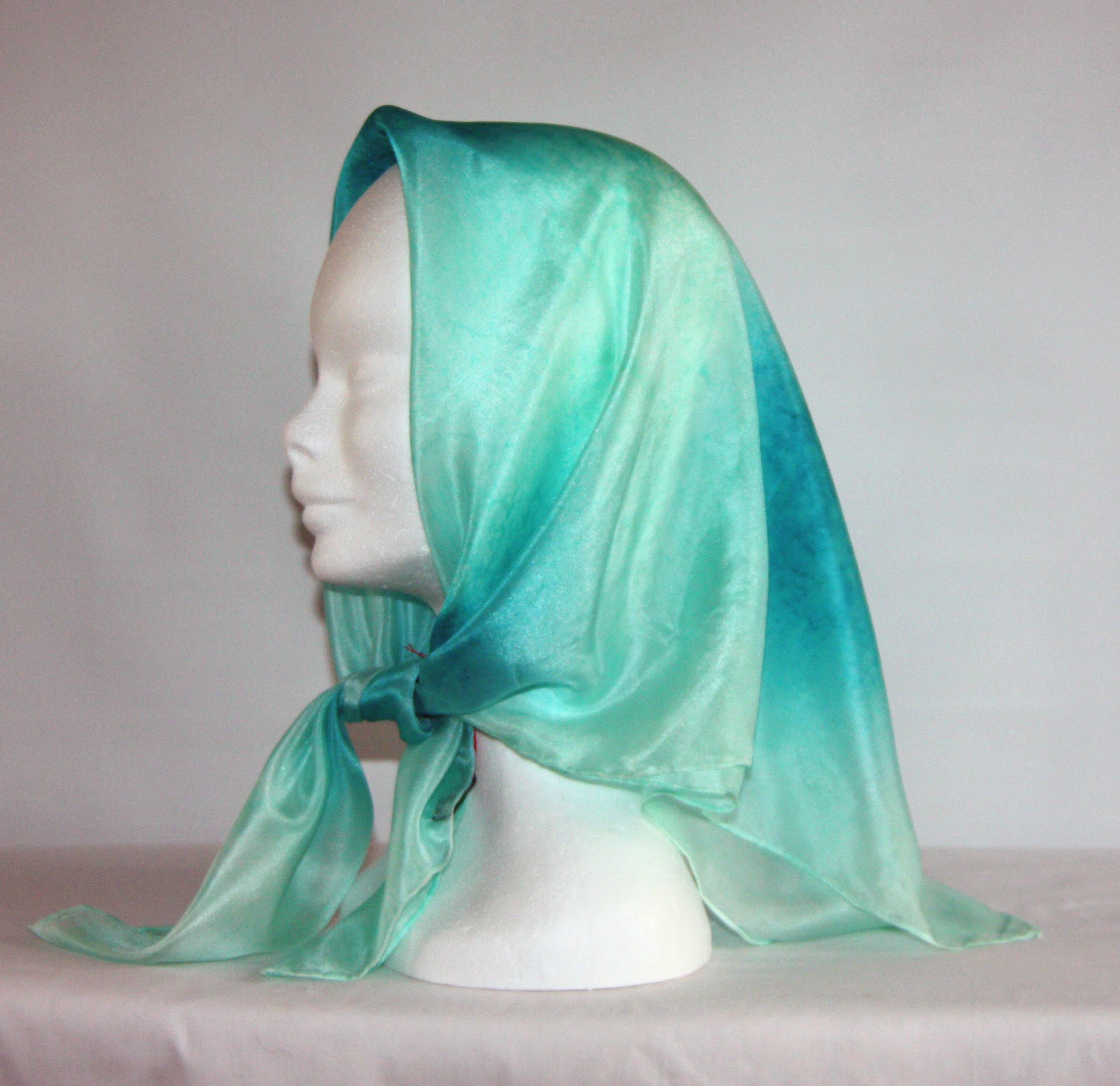 Peppermint Green and Peacock Blue Square Silk Headscarf