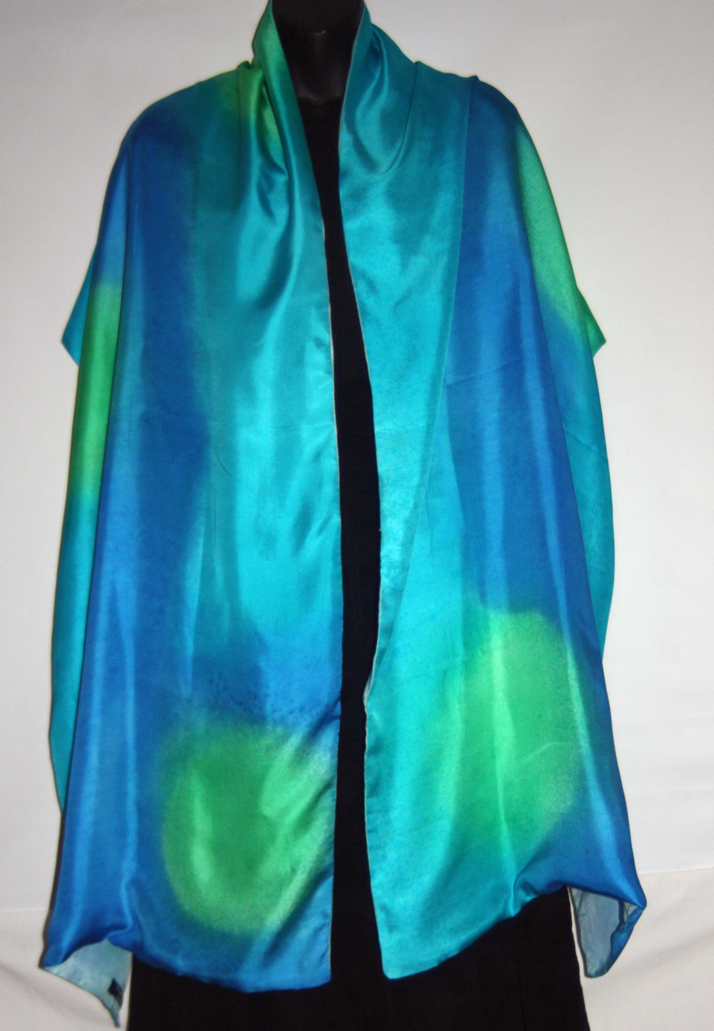 Lime Green, Royal Blue and Turquoise Silk Wrap