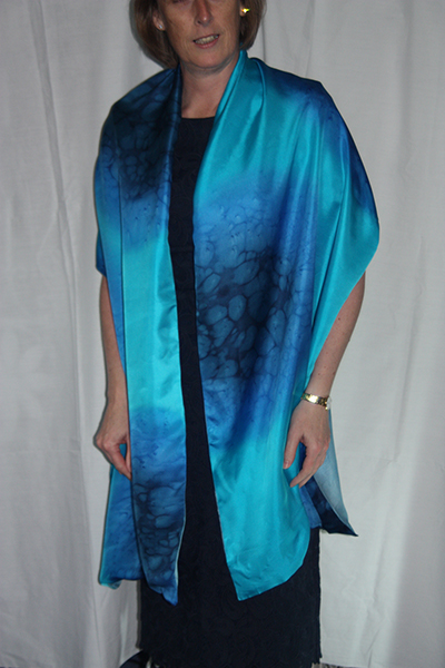 Navy Blue and Turquoise Silk Wrap